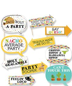 Another great find on #zulily! 'Taco 'Bout a Party' Photo Booth Prop Set #zulilyfinds