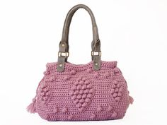 BAG // Pink / Rose Crocheted Handbag- handbag Celebrity Style With Genuine Leather Straps / Handles/crochet bag / gray bag on Etsy, $99.00