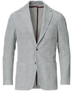 Canali Checked Jersey Blazer Light Grey