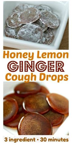 Don't buy store cough drops, when you can make your own! A recipe for all-natural homemade Honey Lemon Ginger Cough Drops with only 3 ingredients and take less than 30 minutes to make Cold Remedies, Natural Health Remedies, Herbal Remedies, Bloating Remedies, Natural Cough Remedies, Natural Cures, Cough Remedies For Kids, Sore Throat Remedies, Sleep Remedies