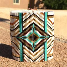 Ultra Wide Tribal Bead Loom Bracelet Cuff Bohemian par PuebloAndCo