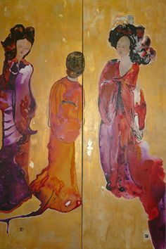 A screen type painting in 2 parts on a rich gold background depicting Court ladies in their flowing silk garments.  Chinoiserie series, Diptych Gold, 1000x150x2cm, mix media on canvas,2011 www.art-lac.com