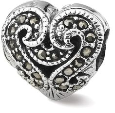 IceCarats 925 Sterling Silver Charm For Bracelet Marcasite Heart Bead ** Click on the image for additional details. #Charms