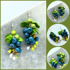 Polymerclay  dangle Blue earrings Blue Earrings, Etsy Earrings, Dangle Earrings, Cardboard Shipping Boxes, Easter Greeting Cards, Quilling Techniques, Handmade Flowers, Flower Cards, Dangles