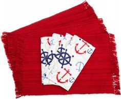 DII Anchors Away Nautical Fringed Placemat-Napkin Set, Red $32.99 SHIPPED FREE~~~FREE SHIPPING (ALSO FREE LOCAL DELIVERY NOW AVAILABLE WITHIN 10 MILES OF SANTA MONICA, CALIFORNIA ZIP CODE 90404~~~