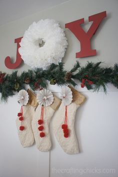 Love the Joy sign.  And cute way to hang stockings without a mantle.