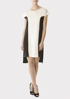 Black Colour Block Tunic Dress - fashionunion