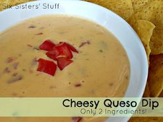 Cheesy Queso Dip- only 2 ingredients needed! Perfect for parties as a side dish or appetizer. SixSistersStuff.com #sidedish #appetizer #dip