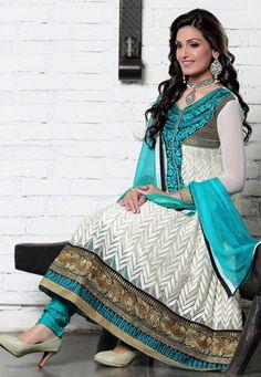 Off White Net and Faux Georgette Anarkali Churidar Kameez $88