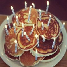 "pancake ""cake"" for your birthday morning!"