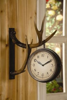 Deer Park Antler Wall Clock Two Sided Metal Rustic Cabin Lodge Hunting Decor. might be a great compromise rather than having the whole deer head like my husband wants. Country Decor, Rustic Decor, Farmhouse Decor, Rustic Room, Western Decor, Rustic Style, Country Life, Vintage Decor, Deer Decor