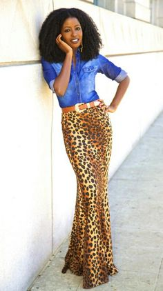 Chambray and leopard maxi skirt