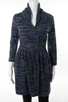 JOIE Multi Color Wool Long Sleeve Button Down Sweater Dress Sz XS