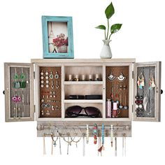 X-cosrack Rustic Jewelry Organizer–Wall Mounted Mesh Jewelry Holder-for Necklaces,Earings, Bracelets,Ring Holder-with Removable Bracelet Rod,Hooks,Wooden Barndoor Decor–Rustic Brown
