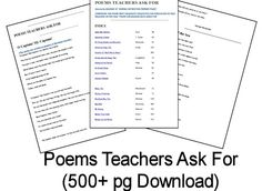 Poems Teachers Ask For (500+ pg Download) #homeschool #poetry School Days, School Stuff, English Spelling, Poetry For Kids, Classroom Language, Classroom Resources, Writing Ideas, Teaching English, Language Arts