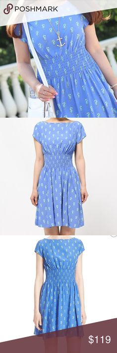 """Kate Spade New York Seahorse Print Silk Dress Sz L Brand new Kate Spade pull-on dress Seahorse print Color: blue Sprightly seahorses float across this sweet silk-blend dress with a jaunty bateau neckline and nipped-in smocked waist. - 36 1/2"""" length (size Medium) - Slips on over head - Bateau neck - Cap sleeves - 54% silk, 46% viscose - Dry clean MSRP: $398 True to size. XXS=00, XS=0-2, S=4-6, M=8-10, L=12, XL=14. kate spade Dresses Midi"""