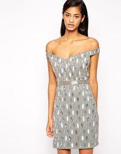 Virgos Lounge Caroline Embellished Off Shoulder Mini Dress