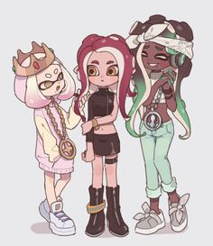 Splatoon, Off The Hook, Pearl, Marina, Octoling Expansion. Favorite Character, Character Design, Pearl And Marina, Art, Anime, Cartoon, Inklings, Splatoon, Fan Art