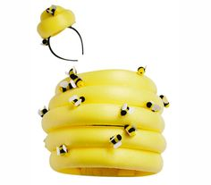 Start with a yellow pool noodle to easily create this beehive costume for Halloween.