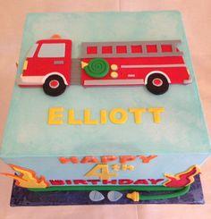 Birthday cake | kid's cake | firetruck | buttercream | fondant applique | hose | flames