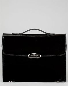 Balenciaga Black Patent Attache Leather Briefcase