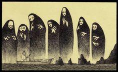 Creepy Post-It Art by John Kenn Mortensen Art And Illustration, Monster Illustration, Illustrations, Arte Post It, Post It Art, Creepy Drawings, Creepy Art, Arte Horror, Horror Art
