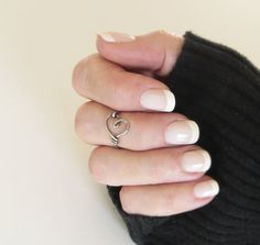 silver heart knuckle ring + french manicure.