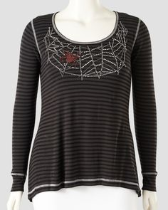 Plus Size Cob Web Top  Buy it here: http://rstyle.me/~2UEN8  #Halloween #Costume #CobWeb #SpiderWeb #Black #Grey #Gray #Red #PlusSize #Scary #Fashion #Stripes #Stripy #Relaxed #Fatshion #FBloggers #PSBloggers #WhatLauraLoves  Blog Post: http://www.whatlauralovesuk.com/2014/10/halloween-outfit-inspiration.html