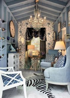 Fancy Blue She Shed via Pinterest, The Best She Sheds via A Blissful Nest