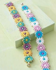 Beading pattern, Daisy Duo Bracelet by Laurie Long Marcum
