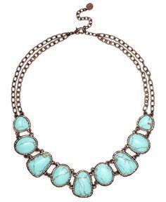 Monet Necklace, Bronze Tone Turquoise Bead Collar Necklace