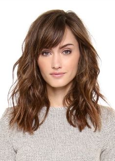 Medium length wavy hair with bangs mediumhairhair+ . Medium length wavy hair with bangs mediumhairhair+ Medium Hair Styles, Curly Hair Styles, Curly Hair With Bangs, Shoulder Length Hair With Bangs, Bangs Medium Hair, Medium Hair Cuts Wavy, Layered Hair With Bangs, Haircut Thick Wavy Hair, Thin Wavy Hair