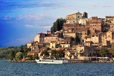 Lake Bracciano and its town, Lazio Region,Rome Italy 2005