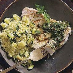 Grilled Fish with Moroccan Chermoula Sauce and Zucchini Couscous from North Africa