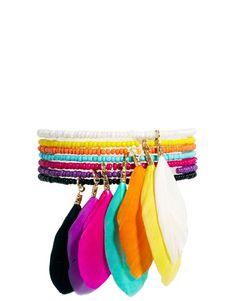 Neon beaded feather  bracelet ,neon feather bracelet ,bohemian style bracelet € 22,17