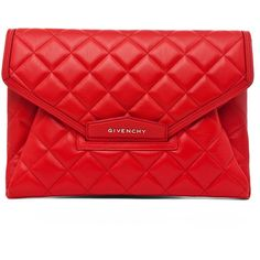GIVENCHY Padded Antigonia Clutch in Red (32 315 UAH) ❤ liked on Polyvore featuring bags, handbags, clutches, givenchy, purses, red, flap purse, red clutches, quilted handbags and red purse