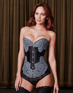 Our shimmering Rita corset effortlessly combines sultry ebony satin with  steel gray floral lace. With d619d78f6b2