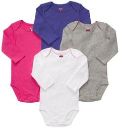 a42d2922253 Carter s Long Sleeve Bodysuits - Assorted Colors - Expandable lap shoulders  slip easily over ears. Nickel-free snaps on reinforced panel last longer  through ...