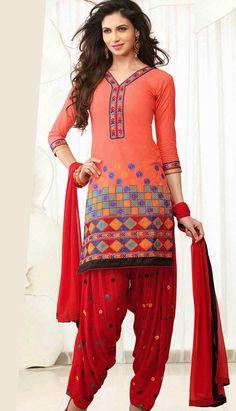 Get Latest Fashionable Indian Peach Georgette #Punjabi Salwar Kameez Online.  #Price INR- 1758 Link- http://alturl.com/rgxrz