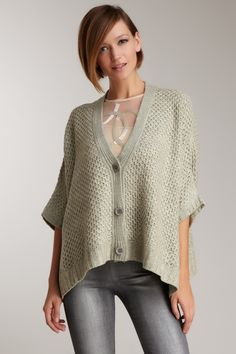 Costa Blanca Button Front Boxy Cardigan - love the knit pattern