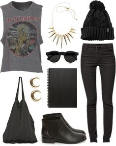 Rock outfit! Black skinny jeans, a rock tangtop and cute accessories are perfect for Mayhem Festival or Warped Tour.