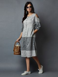 Grey Striped Cotton Cold Shoulder Dress Frocks For Teenager, Frocks For Girls, Casual Summer Dresses, Summer Dresses For Women, Cotton Dresses Online, Dress Online, Western Dresses For Girl, Casual Frocks, Frocks And Gowns