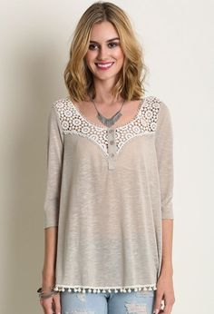 I LOVE BALL FRINGE! Taupe Lace Ball Frince Lace Detail 3/4 Sleeve Top