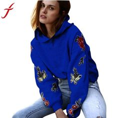 Feitong Winter Sweatshirt Women Hooded Long Sleeve Casual Rose Butterfly Embroidery Hoodie Sweatshirt Pullover Tops hoodies