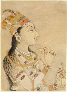 Idealized Portrait of the Mughal Empress Nur Jahan India, Rajasthan, Kishangarh, circa Drawings; Mughal Paintings, Indian Paintings, Pichwai Paintings, Islamic Paintings, Abstract Paintings, History Of Nail Polish, Jaisalmer, Udaipur, Cultura General