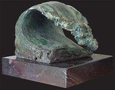 Wave #1 by Regina Hurley. Limited bronze sculpture with a bronze base. #surfart #reginahurely