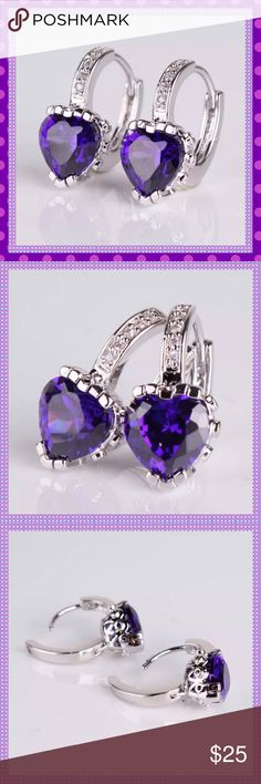 💜Purple Heart Swarovski Crystal Huggable Earrings 💜GORGEOUS Purple Swarovski Heart Shaped Crystals set in a 18K White Gold Filled Setting, Huggable Earrings. Absolutely gorgeous! Wear them dressed up or with jeans & t-shirt!💜COME IN A GIFT BOX💜 Boutique Jewelry Earrings