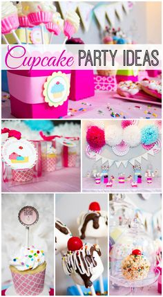 Adorable cupcake girl birthday party ideas! See more party ideas at CatchMyParty.com. #cupcakes #girlbirthday First Birthday Parties, Birthday Fun, Birthday Party Themes, Theme Parties, Birthday Ideas, Perfect Party, Party Planning, Cupcake Birthday Cake, Cupcake Party Decorations