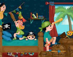 Pirate Illustration, Children's Book Illustration, Illustrations, Bamboo Tablet, Wacom Bamboo, Pirate Adventure, Board Game Design, Apc, New Work