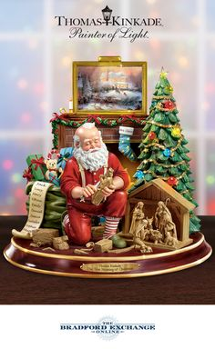 What's the true meaning of Christmas? This Thomas Kinkade narrative Santa figurine tells the story in the Painter of Light's actual voice.